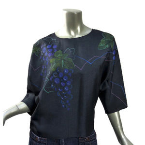 Vintage Black Dolman Top with Grapes and Leaves UK
